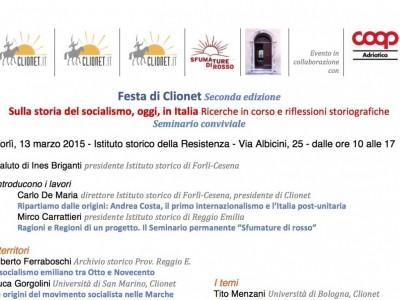 Seconda Festa di Clionet. Sulla storia del socialismo