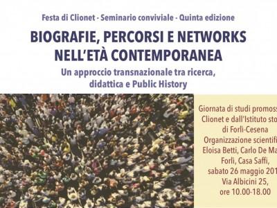 Quinta Festa di Clionet. Biografie, percorsi e networks
